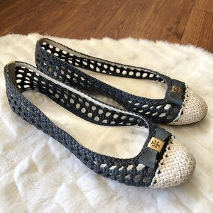 Tory Burch Carlyle Blue and White ballet flats